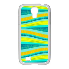 Yellow And Blue Decorative Design Samsung Galaxy S4 I9500/ I9505 Case (white) by Valentinaart