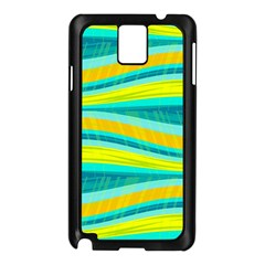 Yellow And Blue Decorative Design Samsung Galaxy Note 3 N9005 Case (black)