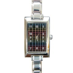 Neon Plaid Design Rectangle Italian Charm Watch by Valentinaart