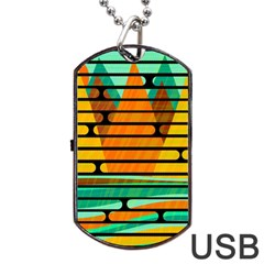 Decorative Autumn Landscape Dog Tag Usb Flash (two Sides)  by Valentinaart