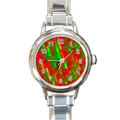 Xmas Trees Decorative Design Round Italian Charm Watch by Valentinaart
