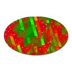 Xmas Trees Decorative Design Oval Magnet