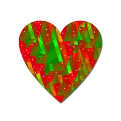 Xmas Trees Decorative Design Heart Magnet by Valentinaart