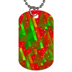 Xmas Trees Decorative Design Dog Tag (one Side) by Valentinaart