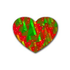 Xmas Trees Decorative Design Rubber Coaster (heart)  by Valentinaart