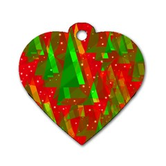 Xmas Trees Decorative Design Dog Tag Heart (two Sides) by Valentinaart