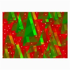 Xmas Trees Decorative Design Large Glasses Cloth (2 Side) by Valentinaart