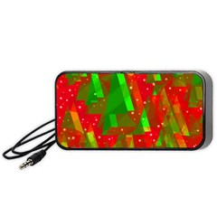 Xmas Trees Decorative Design Portable Speaker (black)  by Valentinaart
