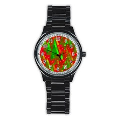 Xmas Trees Decorative Design Stainless Steel Round Watch by Valentinaart