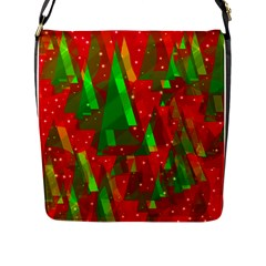 Xmas Trees Decorative Design Flap Messenger Bag (l)  by Valentinaart