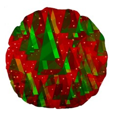 Xmas Trees Decorative Design Large 18  Premium Flano Round Cushions by Valentinaart