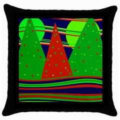 Magical Xmas Night Throw Pillow Case (black) by Valentinaart