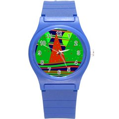 Magical Xmas Night Round Plastic Sport Watch (s) by Valentinaart