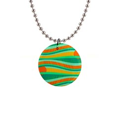 Green And Orange Decorative Design Button Necklaces by Valentinaart