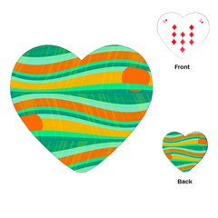 Green And Orange Decorative Design Playing Cards (heart)  by Valentinaart