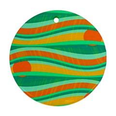Green And Orange Decorative Design Round Ornament (two Sides)  by Valentinaart