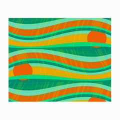 Green And Orange Decorative Design Small Glasses Cloth (2 Side) by Valentinaart