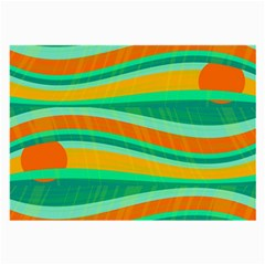 Green And Orange Decorative Design Large Glasses Cloth by Valentinaart