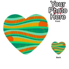Green And Orange Decorative Design Multi Purpose Cards (heart)  by Valentinaart