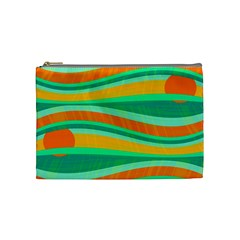 Green And Orange Decorative Design Cosmetic Bag (medium)  by Valentinaart