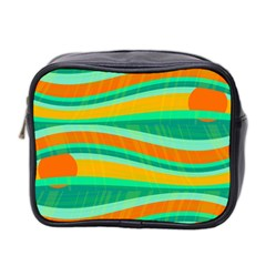 Green And Orange Decorative Design Mini Toiletries Bag 2 Side by Valentinaart