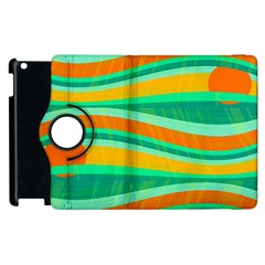 Green And Orange Decorative Design Apple Ipad 2 Flip 360 Case by Valentinaart