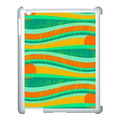Green And Orange Decorative Design Apple Ipad 3/4 Case (white) by Valentinaart