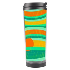 Green And Orange Decorative Design Travel Tumbler by Valentinaart