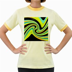 Blue And Yellow Women s Fitted Ringer T Shirts by Valentinaart