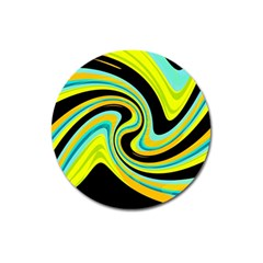 Blue And Yellow Magnet 3  (round) by Valentinaart
