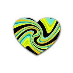 Blue And Yellow Rubber Coaster (heart)  by Valentinaart