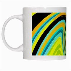 Blue And Yellow White Mugs by Valentinaart