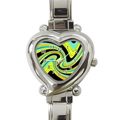 Blue And Yellow Heart Italian Charm Watch by Valentinaart