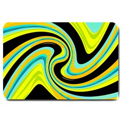Blue And Yellow Large Doormat  by Valentinaart