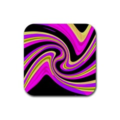 Pink And Yellow Rubber Coaster (square)  by Valentinaart