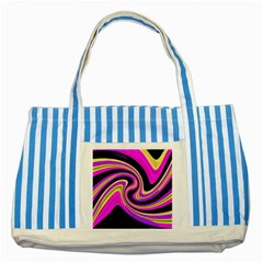 Pink And Yellow Striped Blue Tote Bag by Valentinaart