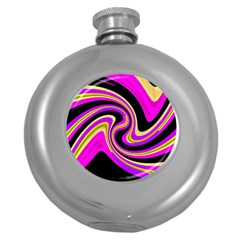 Pink And Yellow Round Hip Flask (5 Oz) by Valentinaart