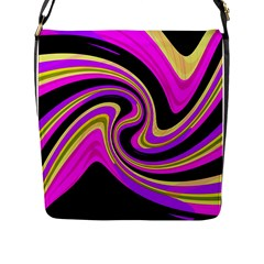 Pink And Yellow Flap Messenger Bag (l)  by Valentinaart