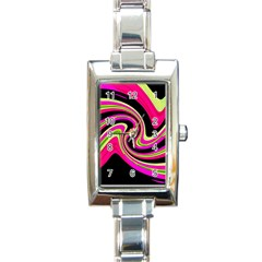 Magenta And Yellow Rectangle Italian Charm Watch by Valentinaart