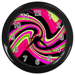 Magenta And Yellow Wall Clocks (black) by Valentinaart