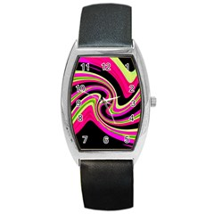 Magenta And Yellow Barrel Style Metal Watch by Valentinaart