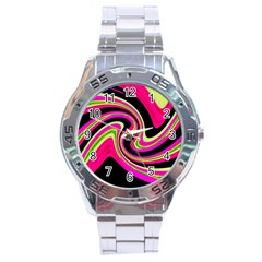 Magenta And Yellow Stainless Steel Analogue Watch