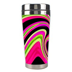 Magenta And Yellow Stainless Steel Travel Tumblers by Valentinaart