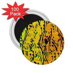 Gentle Yellow Abstract Art 2 25  Magnets (100 Pack)  by Valentinaart