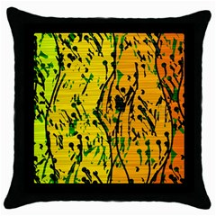 Gentle Yellow Abstract Art Throw Pillow Case (black) by Valentinaart
