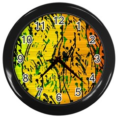 Gentle Yellow Abstract Art Wall Clocks (black) by Valentinaart