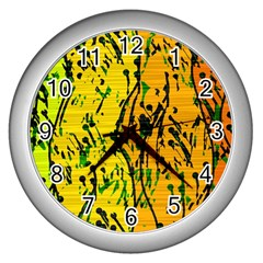 Gentle Yellow Abstract Art Wall Clocks (silver)  by Valentinaart