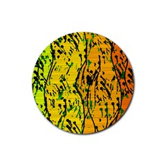 Gentle Yellow Abstract Art Rubber Coaster (round)  by Valentinaart