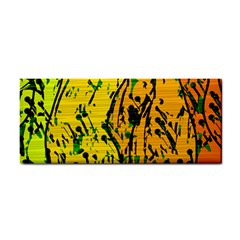 Gentle Yellow Abstract Art Hand Towel by Valentinaart