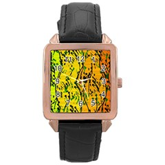 Gentle Yellow Abstract Art Rose Gold Leather Watch  by Valentinaart